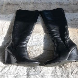 Nine West Black Leather Wedge Boots 71/2